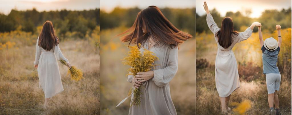 robe boheme dans les champs